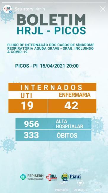 Mais um óbito por Covid-19 é registrado no Hospital Regional de Picos
