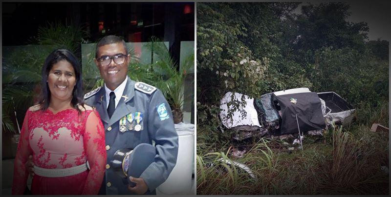 Capitão da PM do Piauí fica ferido e esposa morre em acidente no Maranhão