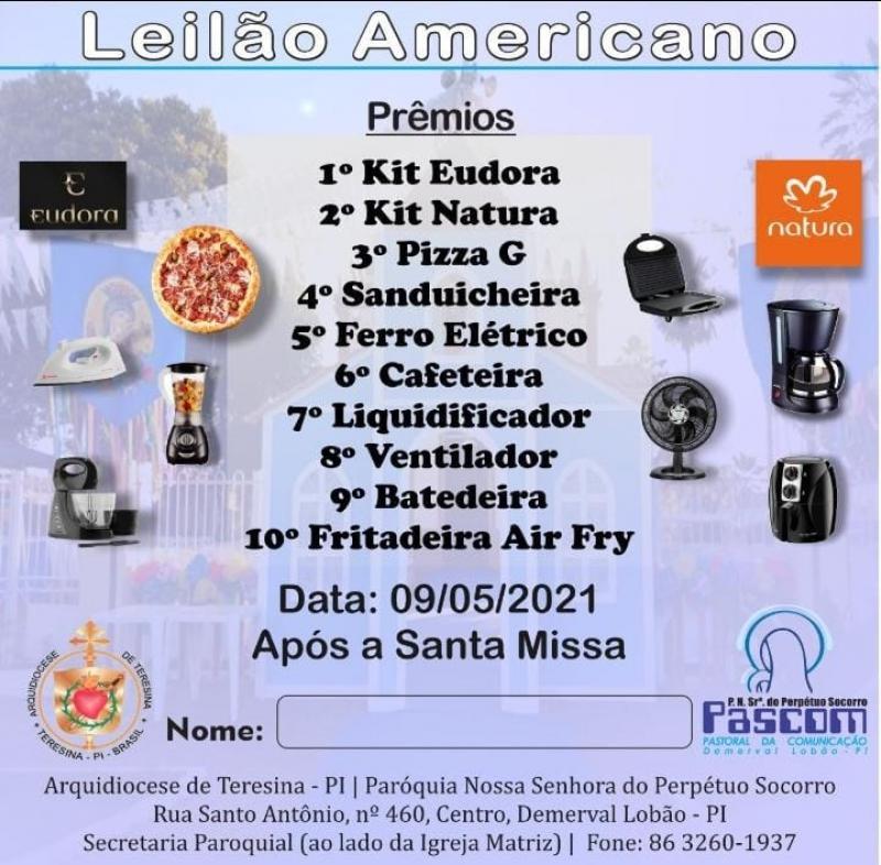Contribua com o leilão americano da Paróquia de Demerval Lobão