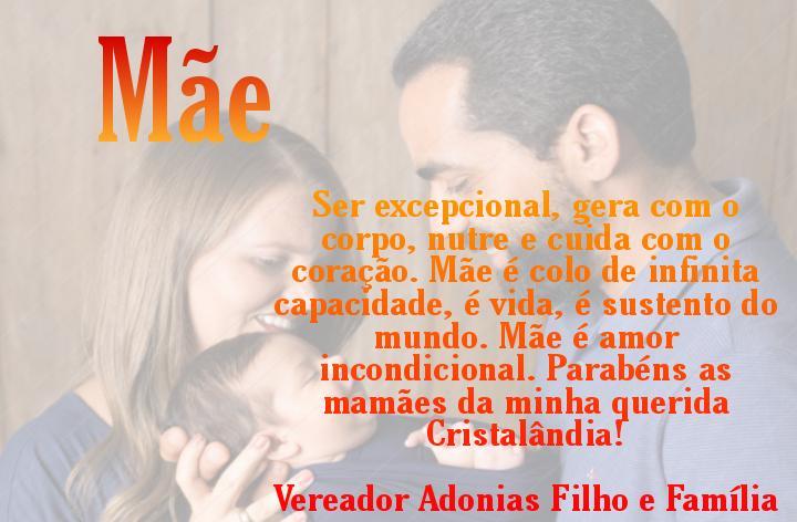 Vereador Adonias Filho parabeniza todas as mães de Cristalândia!