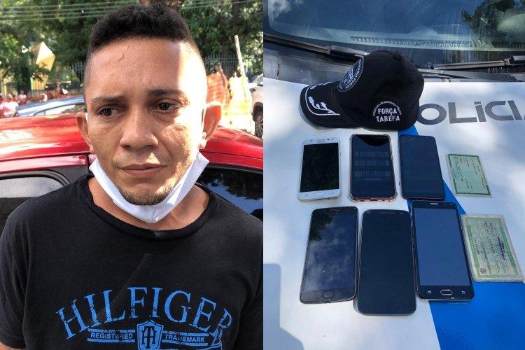 Jovem é preso com seis celulares roubados na praça da Bandeira em Teresina