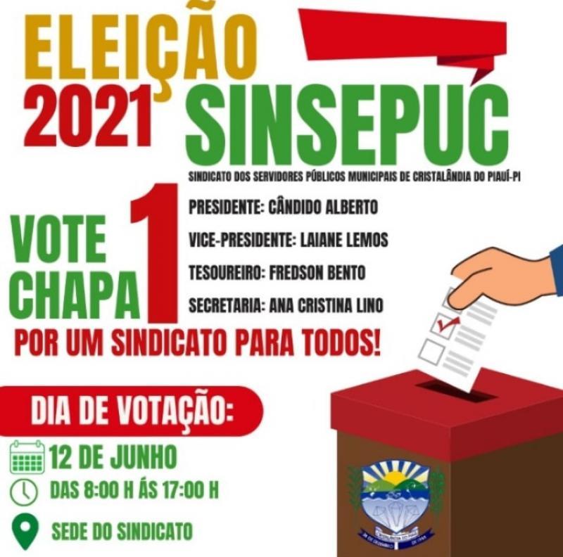 Eleição em Cristalândia acontecerá dia 12 de junho de 2021.