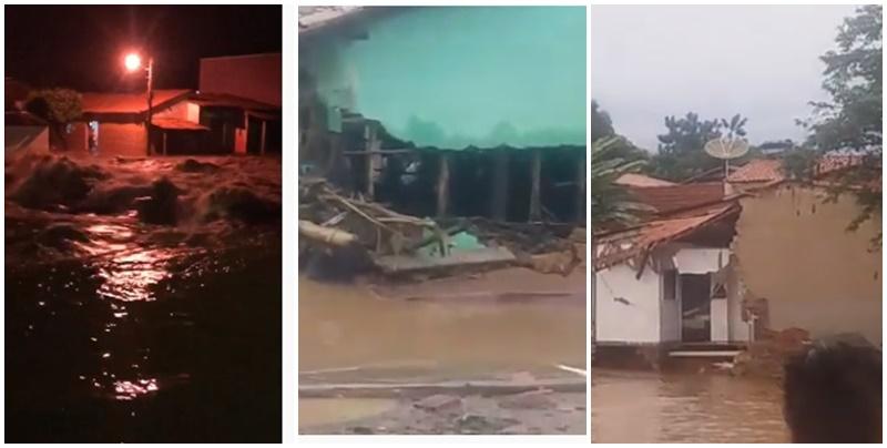 Barragem se rompe e destrói várias casas em cidade do Piauí; Veja fotos e vídeos