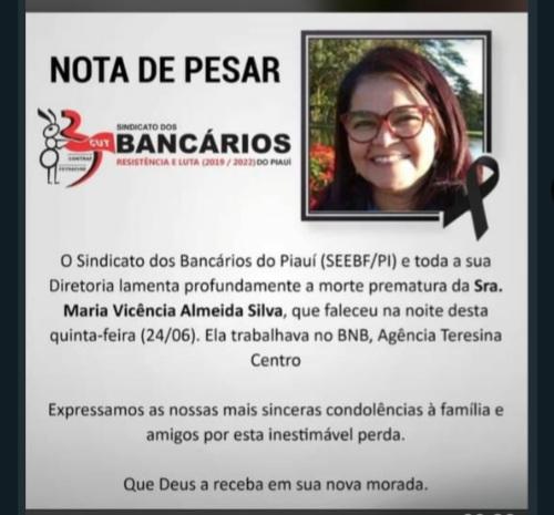 Sindicato dos Bancários do Piauí lamenta morte de Maria Vicência Almeida funcionaria do BNB.