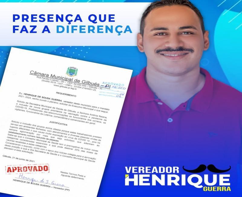 Vereador Henrique Guerra solicita prioridade para trabalhadores essenciais