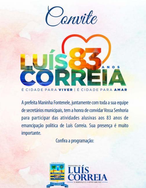 Programação comemorativa aos 83 anos de Luís Correia inicia neste sábado (17) Confira a Programação