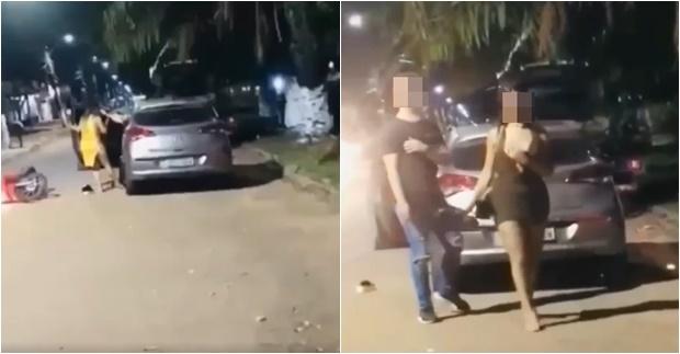 Vídeo: esposa surta ao flagrar marido com travesti dentro do carro