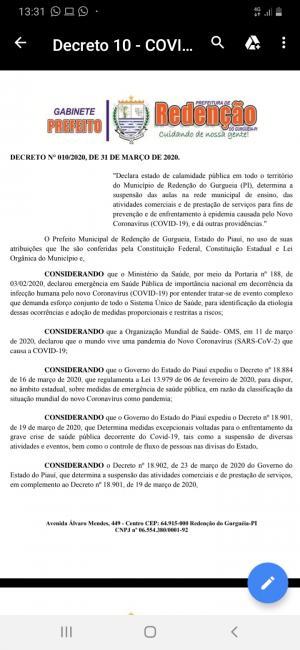 Prefeitura de Redenção do Gurguéia decreta estado de calamidade pública