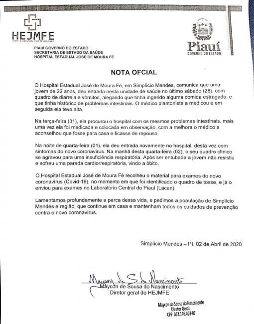 O diretor do Hospital José de Moura Fé emitiu nota oficial sobre falecimento de uma jovem.