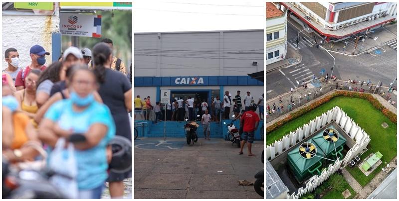 Primeiro dia de pagamento do auxílio de R$ 600 lota bancos em Teresina