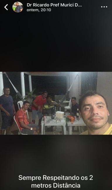 Prefeito de cidade do Piauí debocha de isolamento e posta foto em farra