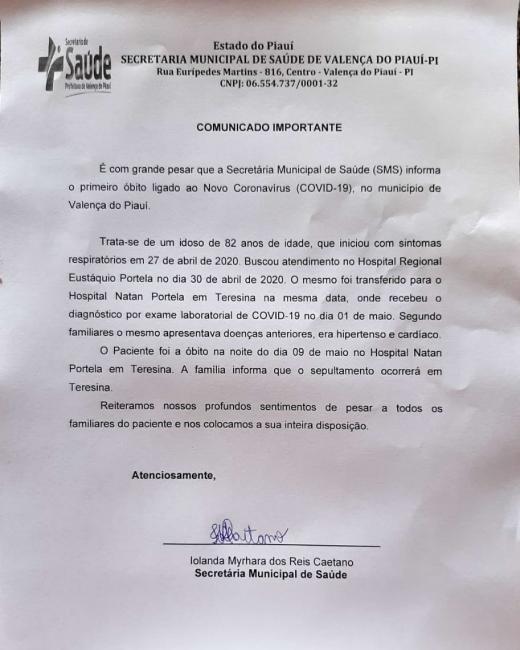 1° Morte por Covid-19 é confirmada em Valença do Piauí.