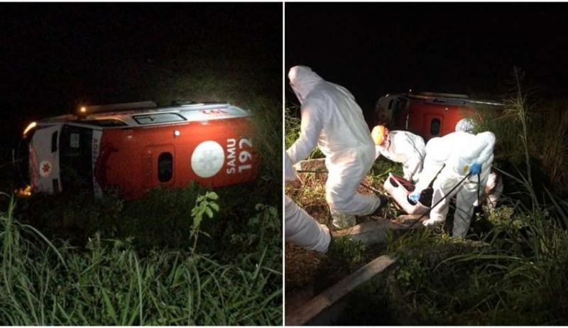 Ambulância que levava pacientes de Covid-19 capota em rodovia; idosa e enfermeiro morrem