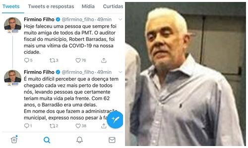 Covid-19: Prefeito Firmino Filho lamenta morte de auditor fiscal em Teresina; 100º óbito no Piauí