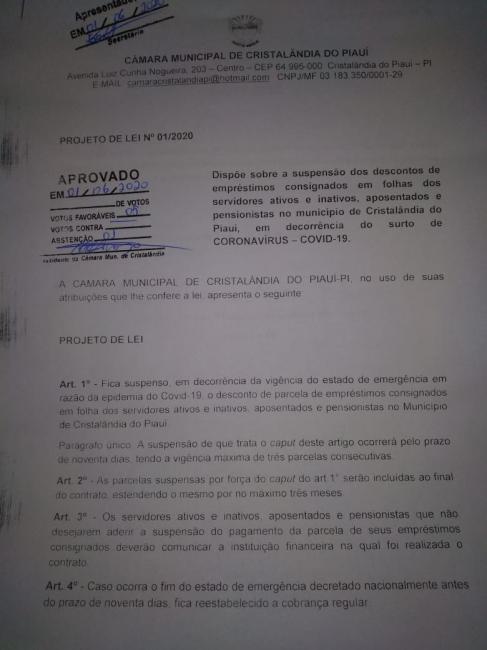 Câmara de Cristalândia aprova projeto de Lei que prevê a suspensão de empréstimos consignados.
