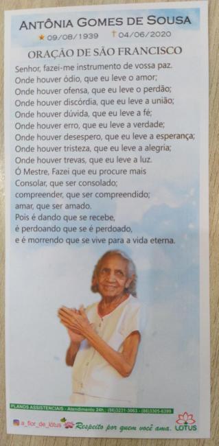 Nota de falecimento: Antônia Gomes de Sousa