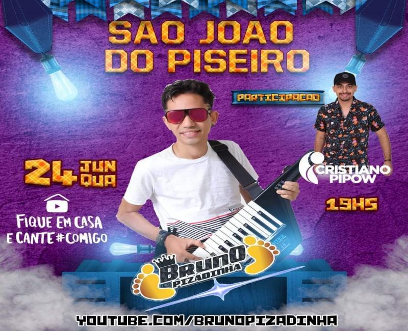 """Cantor Bruno Pizadinha realizará live """"São João do Piseiro"""" nesta quarta (24)"""