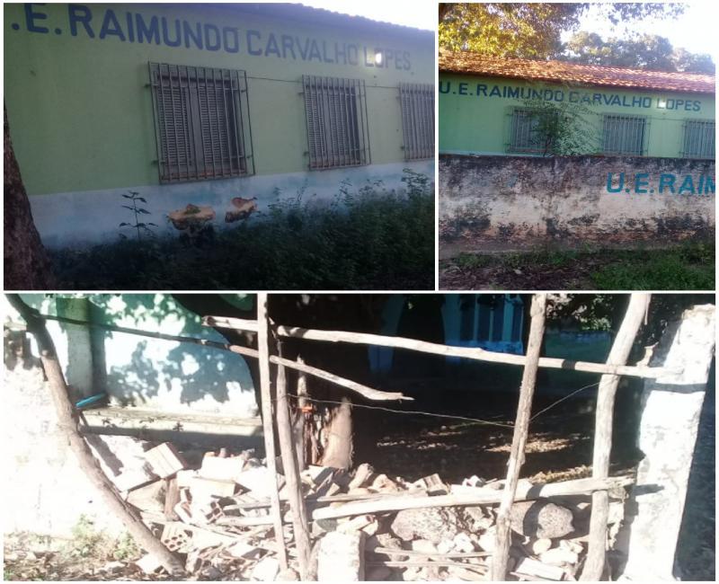 Escola: Raimundo Carvalho Lopes tem muro caído e secretaria de Educação não tomou providência.