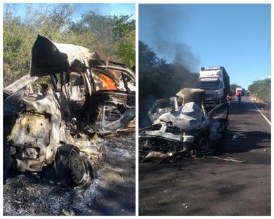 Duas pessoas morrem carbonizadas em grave acidente envolvendo carreta na BR-135 no PI