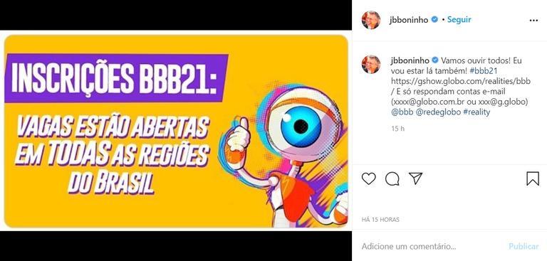 Inscrições BBB21: vagas estão abertas em todas as regiões do Brasil