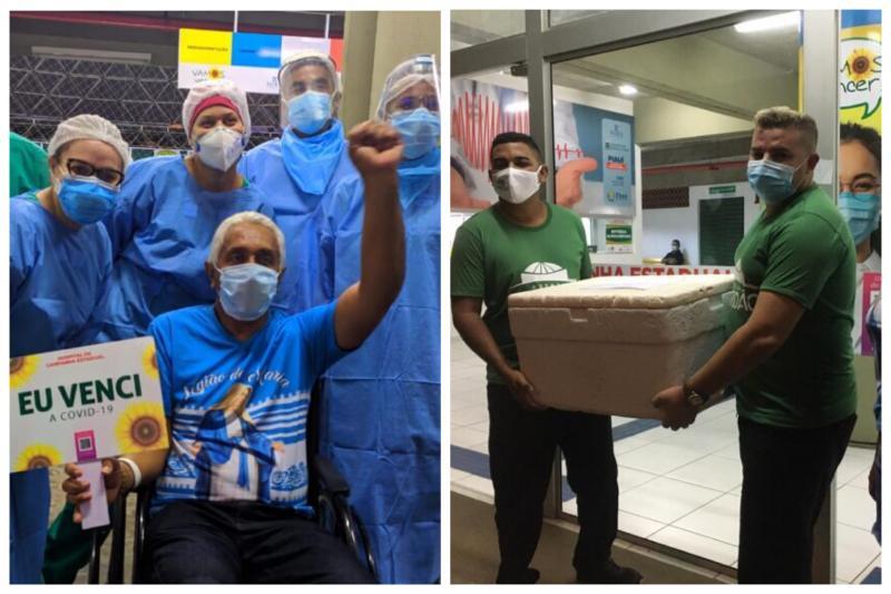 Após alta, dono de sorveteria homenageia equipe do Hospital de Campanha Estadual em Teresina