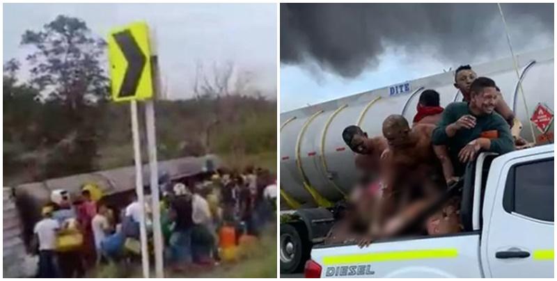 Imagens fortíssimas: Caminhão explode enquanto pessoas tentam roubar combustível e deixa 11 mortos