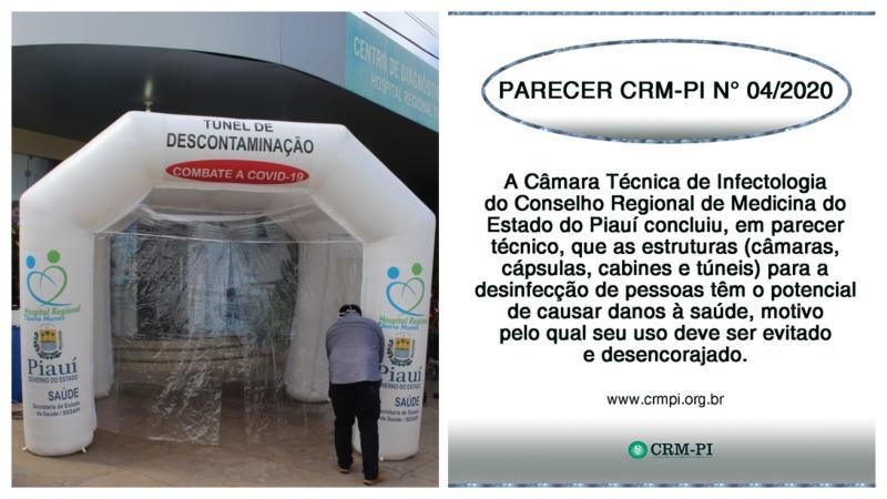 Conselho de Medicina do Piauí afirma que cabines de desinfecção trazem danos à saúde