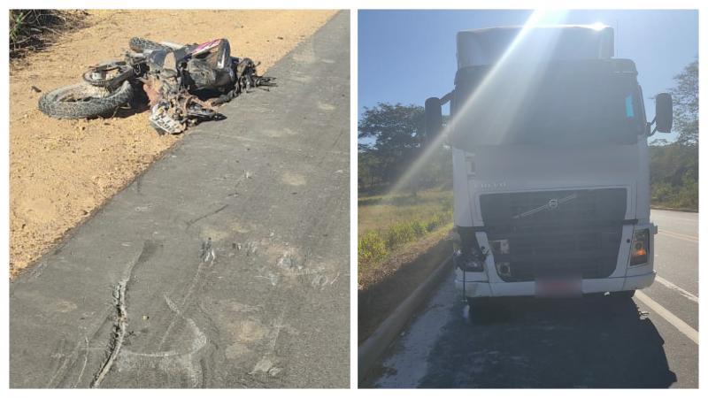Adolescente morre em grave acidente envolvendo carreta e motocicleta na BR-135 no PI
