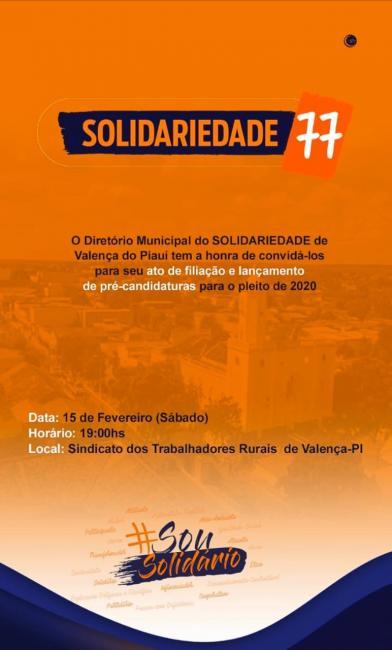 É nesse sábado (15), o Partido Solidariedade convida para o ato de filiação