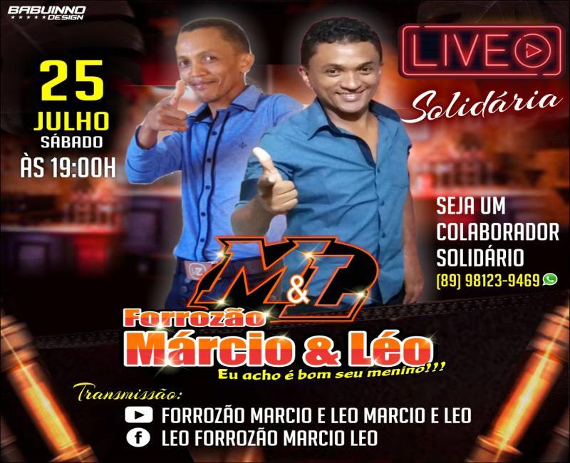 Live solidária do Forrozão Márcio e Léo será sábado  dia 25 de julho