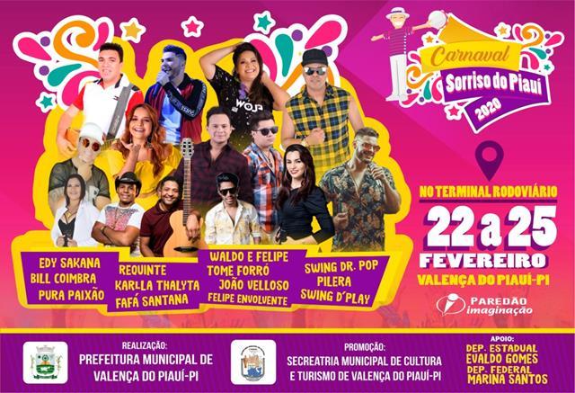 Prefeitura de Valença do Piauí divulga programação para o Carnaval 2020.