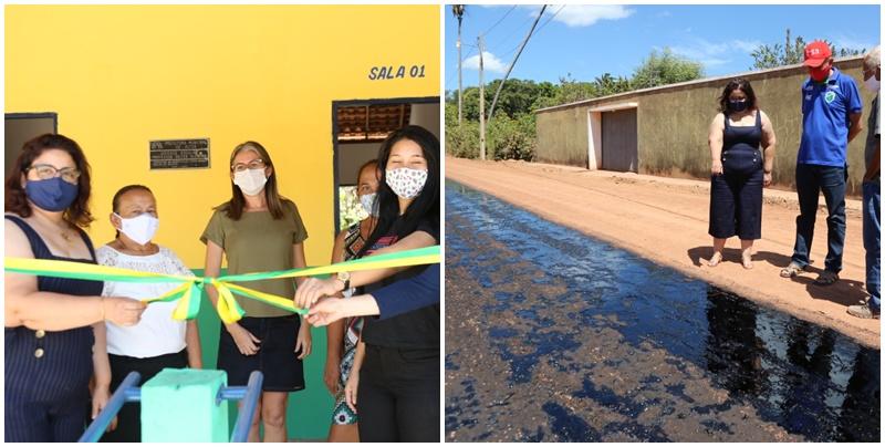 Prefeita Patrícia Leal entrega reforma de mais uma escola; obras de asfaltamento são retomadas