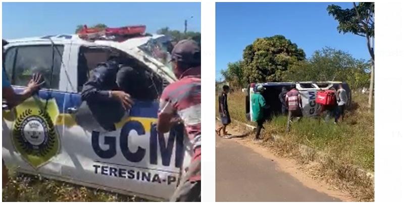 Guardas municipais ficam feridos após viatura capotar durante perseguição em Teresina