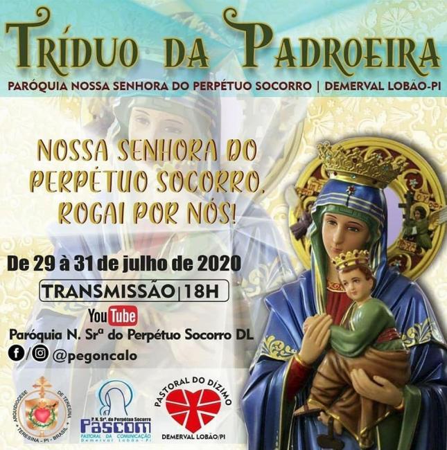 DEMERVAL LOBÃO: De 29 a 31/07, Tríduo da Padroeira alusivo ao festejo/2020