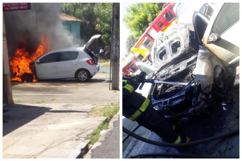 Veículo pega fogo e chamas destrói fachada de loja em Teresina