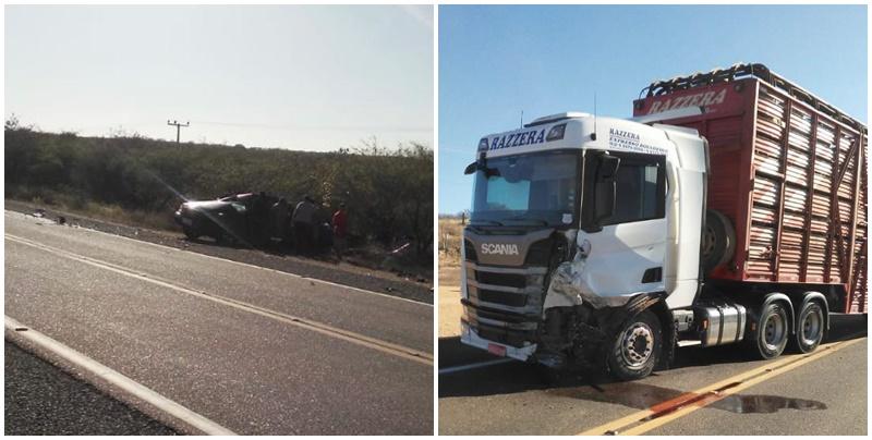 Colisão entre caminhonete e carreta mata empresário na BR-407, Sul do Piauí
