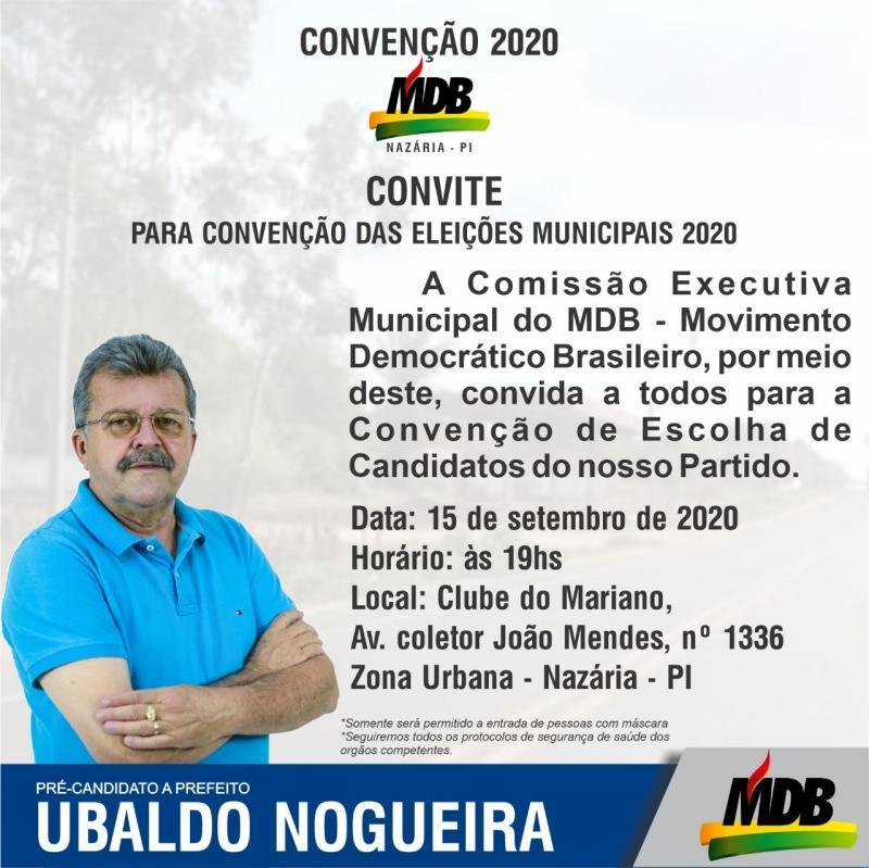 Ubaldo Nogueira realizará convenção no dia 15/09 em Nazária