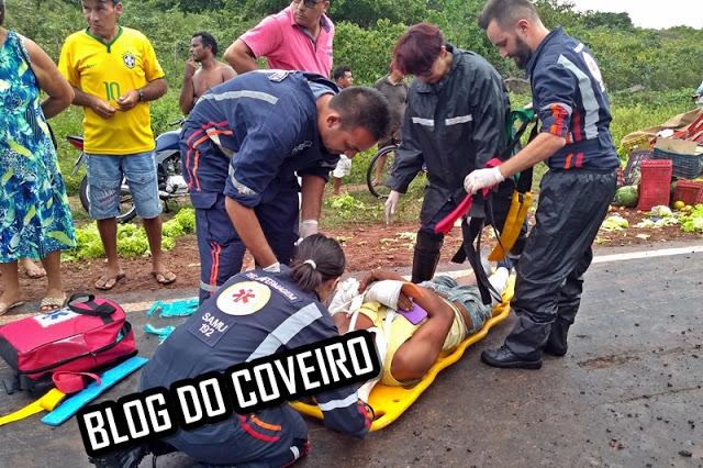 Três pessoas ficam feridas após caminhão tombar no Norte do Piauí