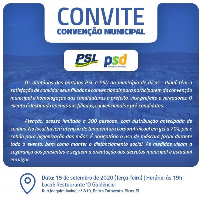 Coronel Viana e Júnior Nobre convidam para convenção partidária dos partidos PSL e PSD de Picos