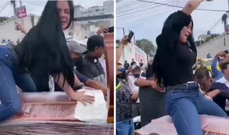 Mulher dança em cima do caixão do marido e vídeo viraliza; assista!