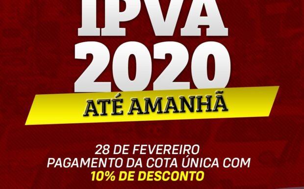 Pagamento do IPVA com 10% de desconto termina na sexta (28)