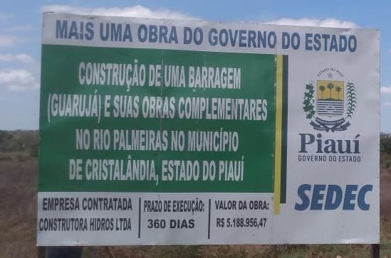 Construção da Barragem de Guarujá se inicia no município de Cristalândia.