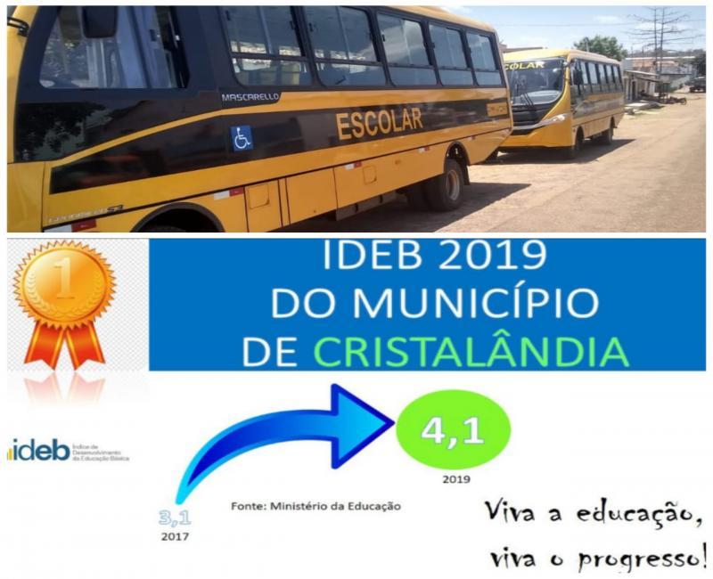 Município de Cristalândia recebe dois novos ônibus para a educação e tem nota do IDEB aumentada.