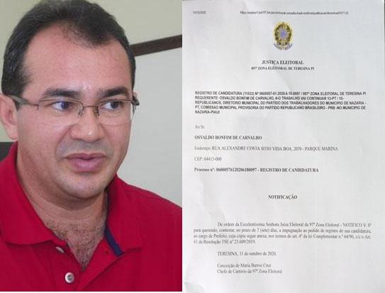 Osvaldo Bonfim só tem mais três dias para contestar IMPUGNAÇÃO de sua candidatura