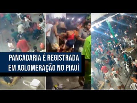 Vídeo: confusão e pancadaria é registrada em aglomeração política em cidade do Piauí