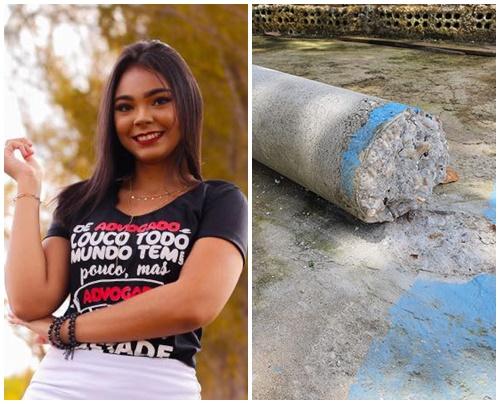 Estudante de Direito morre após coluna de concreto cair sobre ela em Timon
