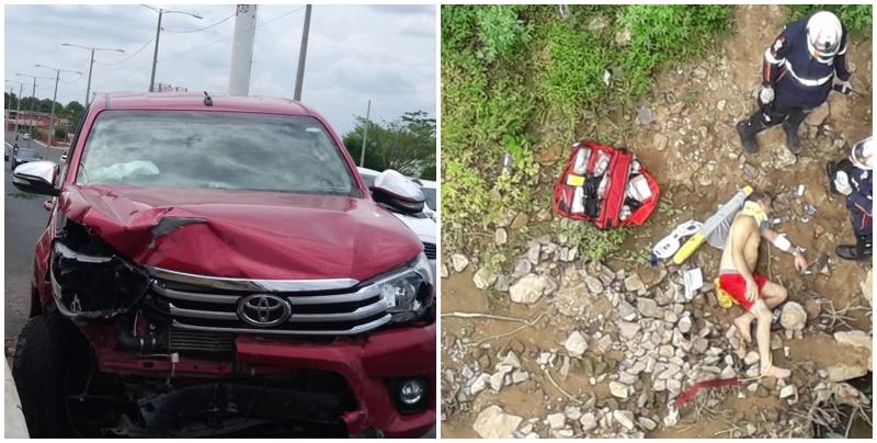 Médico bate em vários veículos e depois se joga de ponte em Teresina