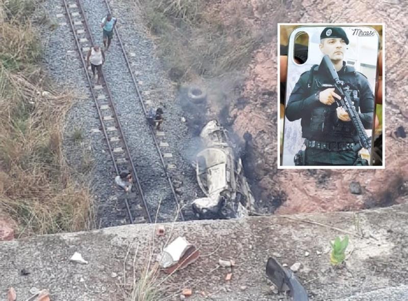 Policial morre após veículo cair de ponte de 30 metros de altura, no Nordeste