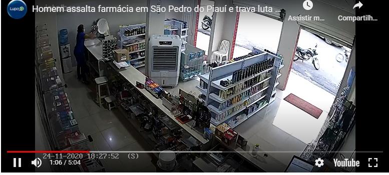 Homem assalta farmácia em São Pedro do Piauí e trava luta corporal com atendente