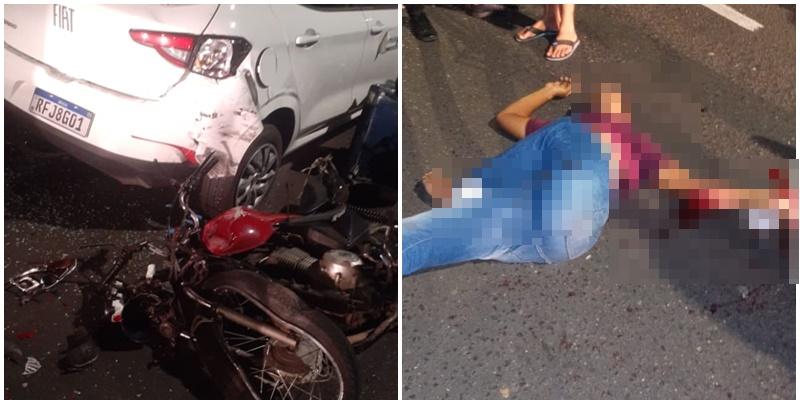 Entregador de pizza fica gravemente ferido após bater em carro na Ponte Estaiada, em Teresina